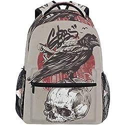 Mochila escolar impermeable, diseño con cuervo y calavera