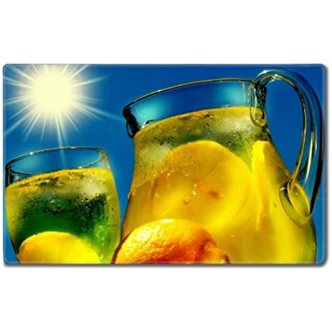 Cold Lemonade Juice Blaring Sun Table Mats Customized Made to Order Support Ready 24 Inch (610mm) X 14 15/16 Inch (380mm) X 1/8 Inch (4mm) High Quality Eco Friendly Cloth with Neoprene Rubber MSD Deskmat Desktop Mousepad Laptop Mousepads Comfortable Computer Place Play Mat Cute Gaming Mouse pads - Pad Lemonade