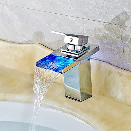Rubinetto LED 3cambiamento di colore RGB Square rubinetto miscelatore monocomando per lavabo niederdruck Rubinetteria lavabo cascata rubinetto per bagno dimensioni: 17.5x 16x 5cm