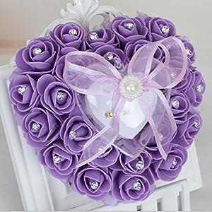 bpblgf Hochzeitsringkissen Ringkissen Hochzeit mit eleganten Satin floral Herz-Ring-Box Schaum Rose Schaum Rose Herzform Kuchen Ring-Box Herzform Kuchen Ring-Box, Beige, 16 * 15cm