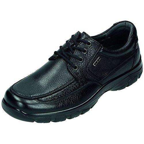 Vert forêt homme chaussures basses en cuir gras, doublure cuir, Tex Membrane de, amovible Noir - schwarz Weite H