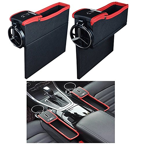 Console Side Pocket - Car Slash Pockets PU Leather Catcher Car Seat Organiser with Coin & Cup Holder in Luxury Design, Car Organizer Driver's Side (Left and Right) (Cup Holder Car Organizer)