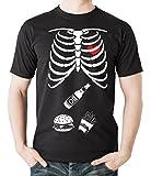 Milky Way Tshirts Männer Halloween-T-Shirt Skeleton Burger-Bier-T-Shirt 4X-Large Schwarz