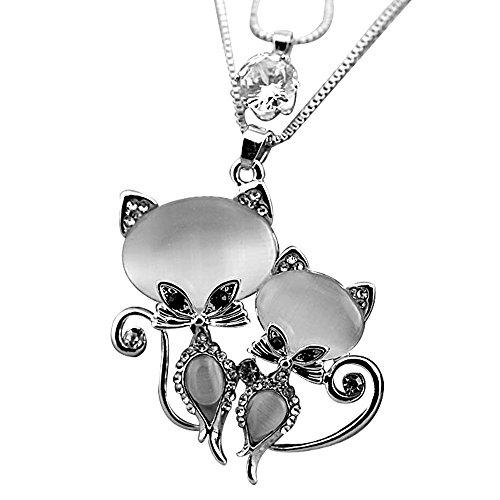 Merssavo 1 Pc Silber Haustier Liebhaber Halskette Cute Cats Eye Paar Anhänger Kette