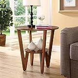 Schreibtische HAIZHEN Sofa Beistelltisch Einfache Ecktisch Rundtisch Telefontisch Kleiner Couchtisch Φ60 * H58cm Klapptisch (Farbe : Nussbaum)