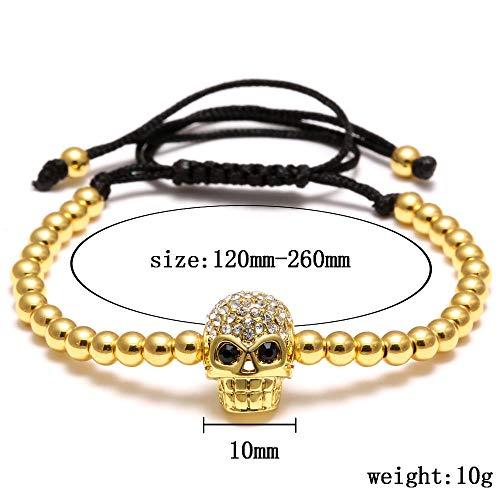 Imagen de pulseras rinhoo cuentas hechas a mano cabeza de calavera trenzado macrame charm wrap cord pulsera con cuentas brazaletes cuerda ajustable joyas para hombres mujeres negro alternativa