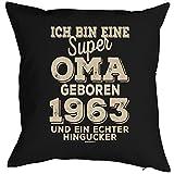 Geschenkidee zum 55 Geburtstag Polster Kissen mit Füllung super Oma geboren 1963 Polster zum 55. Geburtstag für 55-jähirge Dekokissen