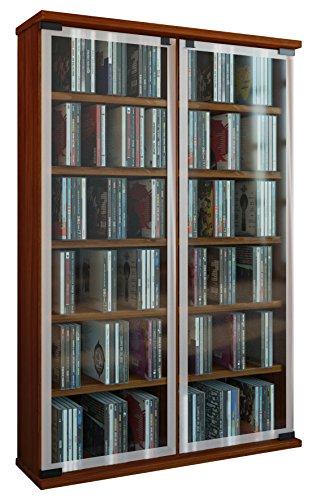 """VCM Regal DVD CD Rack Medienregal Medienschrank Aufbewahrung Holzregal Standregal Schrank Möbel Kern-Nussbaum """"Galerie"""""""