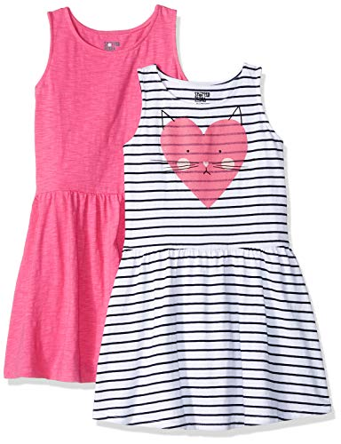 Spotted Zebra 2-Pack Knit Sleeveless Fit and Flare playwear-dresses, Pink/Kitty Stripe, Large (10), 2er - Flare Knit Kleid