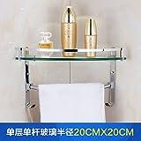 Badezimmer Badezimmer Glas Regal Doppel-Eckrahmen Badarmaturen Stativhaken, 681a (20X20)