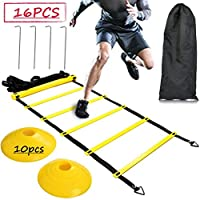 BUYGOO 6m Agility Speed Training Ladder and Cones 12 Rung Football Speed Ladder and Cones for Kids and Adult, Durable Agility Ladder Set with Pins and Drawstring Bag for Outdoor Sports Training
