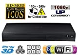 SAMSUNG BD-J5900 NEW CURVED DESIGN - 2D/3D - Built-in WI-FI - Multi Zone A/B/C & Region Code Free DVD 012345678 PAL/NTSC Blu Ray Player. Divx MP4 AVI MKV. 100~240V 50/60Hz (Free HDMi Cable), [Importado de UK]