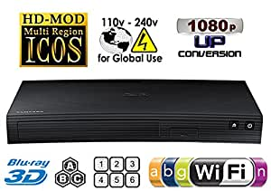 Samsung BD-J5900 New Curved Design – 2d/3d – Built-in Wi-Fi – Multi Zone a/b/c & Region Code free DVD 012345678 PAL/NTSC blu ray Player. DivX MP4 AVI MKV. 100 ~ 240 V 50/60Hz, Free HDMI cavo, [Importazione di UK]