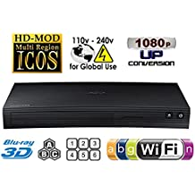 SAMSUNG BD-J5900 NEW CURVED DESIGN - 2D/3D Built-in WI-FI-Multi Zone A/B/C & Region Code Free DVD 012345678 PAL/NTSC Blu Ray Divx Player. MP4, AVI MKV. 100 ~240 V 50/Vac (Free HDMi Cable) [Importato Da Regno Unito]