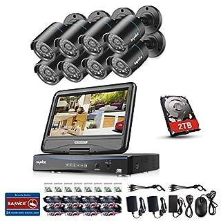 SANNCE Videoüberwachung Überwachungskamera System Set mit 10,1 Zoll Monitor 8CH 720P All in one DVR Video Überwachungssystem mit 8PCS Außen 720P Bullet Kameras für innen und außen Bereich mit 2TB Festplatte