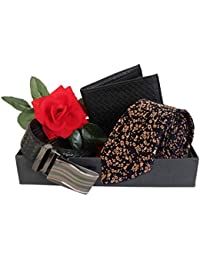 TIED RIBBONS Combo Pack of Men's Tie, Leather Wallet, Leather Belt Dual Side with Red Rose Packed in Box