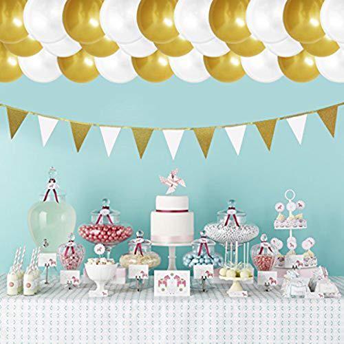 (Party Ballons - 101-tlg 30,5 cm Gold und weiß Latex Ballons - Glitzern Dekorieren Bunting Papier Banner & String - für Geburtstagsfeier, Kids Parties, Baby-Duschen, Graduierung & Hochzeit Feiern - Bulk Dekoration Lieferungen)
