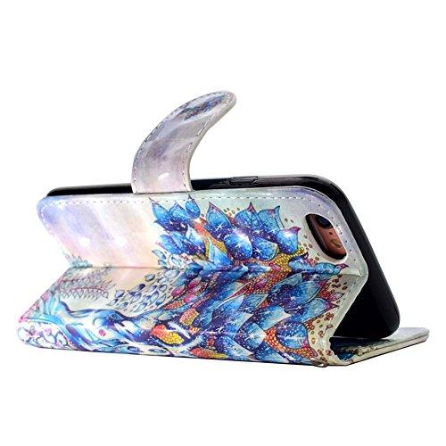 iPhone 7 Leder Brieftasche, iPhone 7 Wallet Case Cover, Aeeque® 3D Full Body Premium Trennbar Tragegurt [Standfunktion Kartenfächer] Hervorragend Rosa Meer der Wolken Muster Kunstleder Schale Handytas 3D Bunte Muster #33