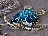 Designer-Figur Dekofigur Schildkröte Josie aus Poly · blau/silber Länge 18 cm