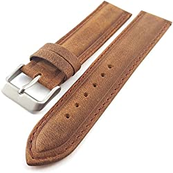 Tan / Light Brown Suede Leather Padded Watch Strap Band 20mm