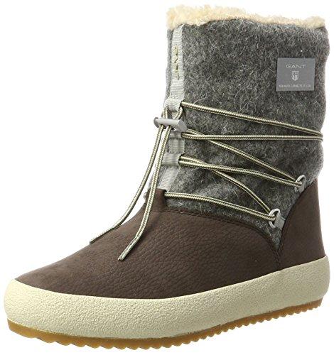GANT Footwear Damen Amy Stiefel, Braun (Dark Brown/Gray), 42 - Stiefel Flauschige Weiß