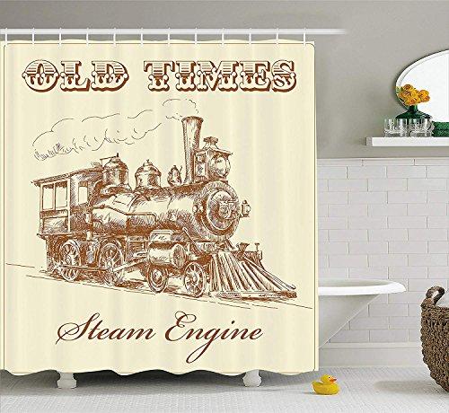 GAOFENFFR Dampfmaschine Duschvorhang Old Times Train Vintage Handgezeichnete Eisen Industrie Ära Lokomotive Stoff Badezimmer Dekor Set mit Pale Caramel