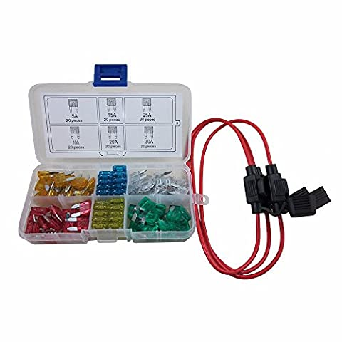 digiten automatique type de mini Lame fusibles ATM assorties + Inline 16AWG Kit support pour voiture bateau camion