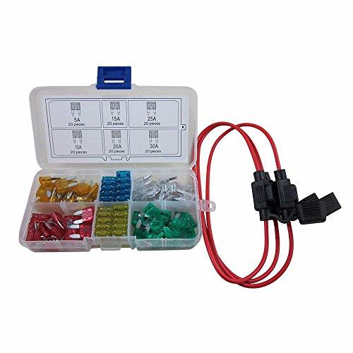 Digiten auto Mini lama tipo ATM fusibili assortiti + Inline 16AWG gauge Holder kit per auto barca camion