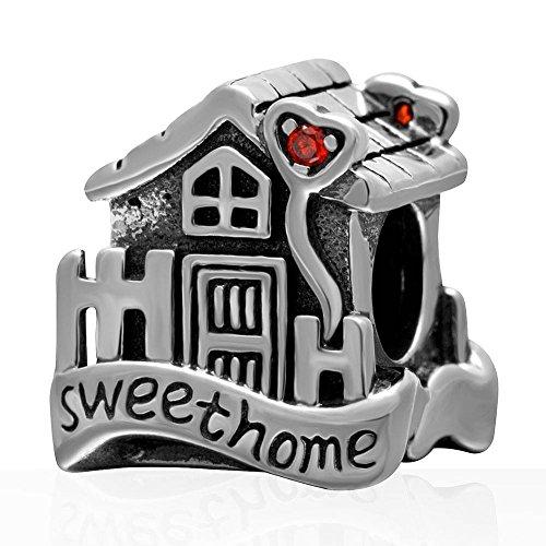 Soulbead sweet home charm house family con rosso pietra a forma di cuore in argento sterling 925anticato per perline braccialetto europeo
