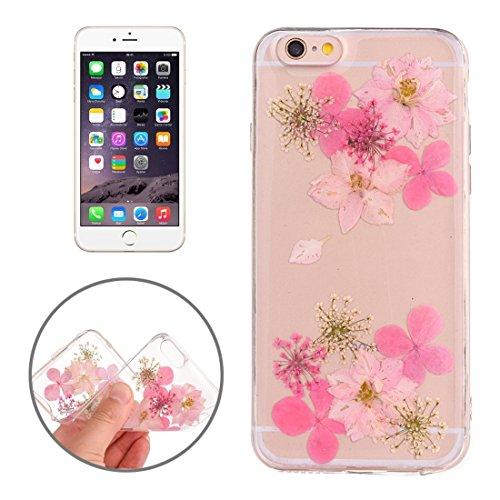 Easy go shopping custodia protettiva in tpu trasparente rigata con fiore reale essiccato a gocciolamento epossidico per iphone 6 e 6s (sku : ip6g2996c)