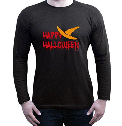 Happy Halloween ::: Lustiges Kostüm-Langarm-Fun-T-Shirt für Herren Teenager Jungen Männer Party-Outfit-Bekleidung Farbe: schwarz Schwarz