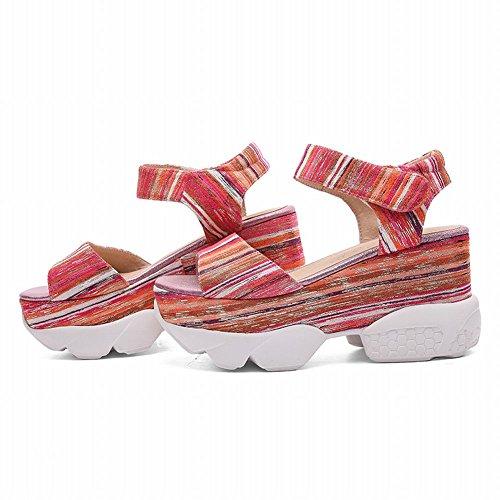 MissSaSa Donna Sandali col Tacco Flatform Alto Fashion Shoes pink mix