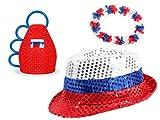 PROMOTION: Kit supporter Russie Sbornaya (Alsino FP-51) 3 accessoires: chapeau collier et caxirola déguisement évenement sportif accessoire homme femme ambiance fan foot spéctacle russe garçon fille