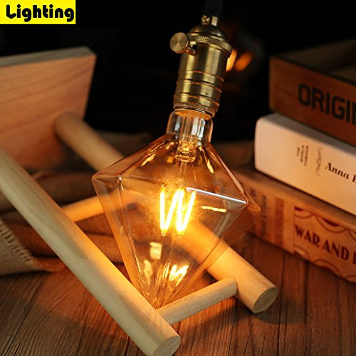 ZMH Lampadina Vintage Edison E27 ST64 4W LED Lampadina decorativa LED Diamond E27 40 Watt Equivalente, Bianco Caldo 3000K, 370 LM Retro Lampada Filamento