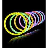 Gold Leaf Glow Sticks Bands - Premium Lumistick Bracelets - 100 Pcs Set Assorted Colours