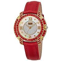 Burgi Womens Quartz Watch, Analog Display and Leather Strap BUR156RD