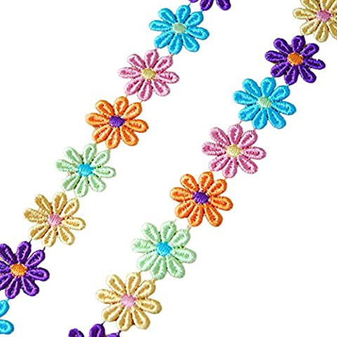 fundiy Colorful Guipure-Daisy Flower Ribbon Stickerei Spitzenbesatz, Nähen Motiv Aufnäher DIY (Spitzenbesatz Craft)