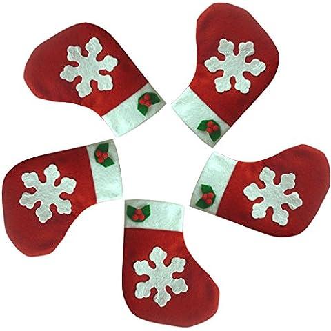 Kapmore 5pcs Natale Calze Argenteria Titolari Tasche