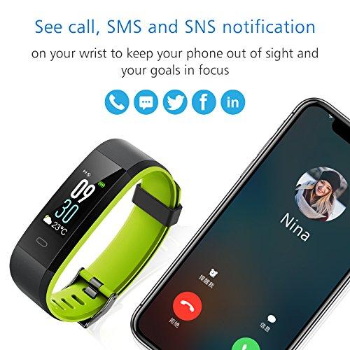 Muzili Fitness Armband YG3C Aktivitätstracker Herzfrequenzmonitor Farbdisplay IP68 Wasserdicht Fitness Tracker mit Schrittzähler Schlafmonitor Kalorienzähler für Kinder Damen Herrn(Black Green) - 5