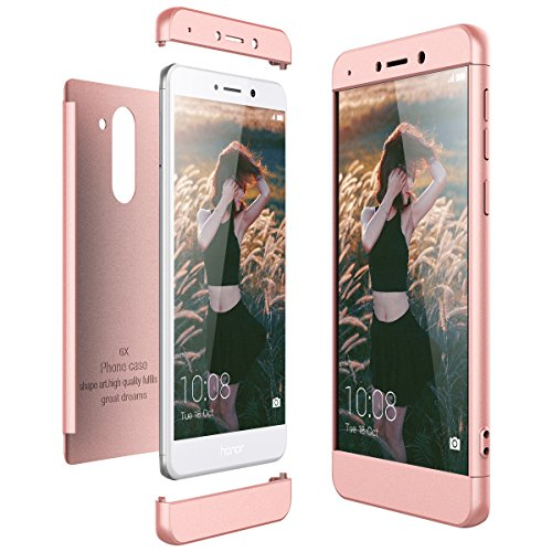CE-Link Funda para Huawei Honor 6X Rigida 360 Grados Integral, Carcasa Honor 6X Silicona Snap On Diseño Antigolpes Choque Absorción, Honor 6X Case Bumper 3 en 1 Estructura - Oro Rosa