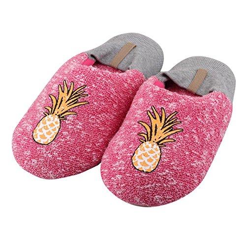 Bwiv Unisexe Pantoufles Bande Dessinée Homme Femme Ananas Flamant Coton Serviette Tissu Éponge Tpr Soles Anti Chaude Glissade Pour Enfants Et Adultes Ananas