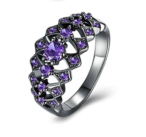Aeici Ring für Damen 925 Träne Hohl Lila Damenring 925 Silber Breit Ring Lila Größe 52 (16.6)