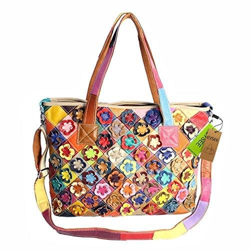 Damen luxuriös Leder Rucksack Umhängetasche Handtaschen Henkeltaschen Schultertasche Blumen aus echtem Leder in bunten Farben (Mode 9)