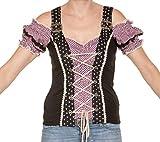 Marjo - Damen Trachten Bluse in Beere/Schwarz, Blanca-Anita Bluse (222900-121000), Größe:44, Marjo Farbe:Beere/Schwarz (5044)