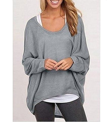 Distinct® À manches longues T-shirt de la femme Pull ample Blouse Hauts en tricot (Gris M)