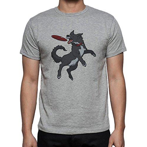 Dog Jump Catch Frisbee Black Herren T-Shirt Grau