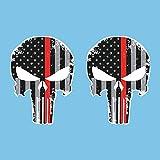 Autodomy Autocollants Punisher Crâne Étoiles Pack de 2 unités pour la Voiture ou la Moto (Rouge)