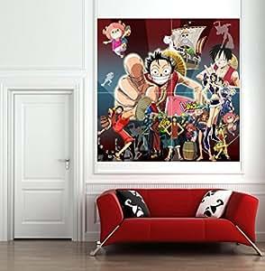 La taille XL Le Japon cartoon mur autocollant poster une pièce pour décorations murales salon 55.11x55.11bricolage inch,140x140cm