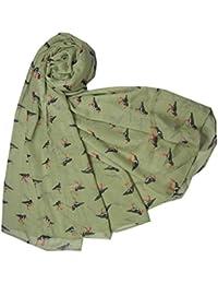 Oyster Catcher Birds in Sage Green Animal Print Ladies Fashion Scarf Scarves