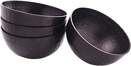 Anasa Serveware Hammered Metal Bowl (15.24 cm x 15.24 cm x 7.62, Black, Set of 4)